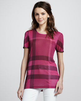 Burberry Brit Exploded-Check Tee, Fuchsia