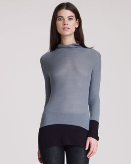 THE ROW Colorblocked Cotton Turtleneck