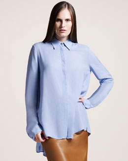 THE ROW Twill Blouse, Powder Blue