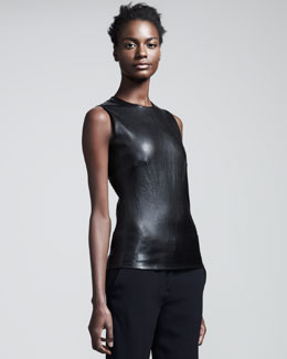 THE ROW Stretch-Leather Sleeveless Top