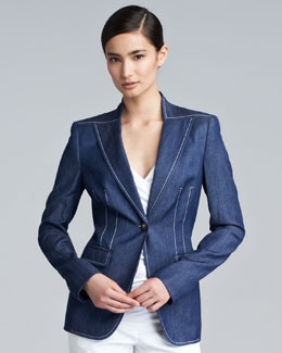 Escada Benice One-Button Denim Jacket