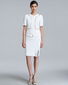 Escada Remise Stretch Cotton Skirt, White