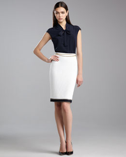 St. John Collection Grasse Tweed Pencil Skirt