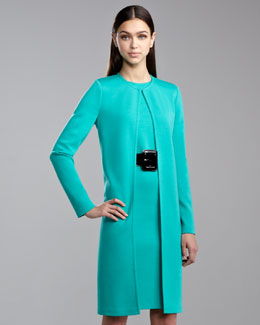 St. John Collection Milano Knit Long Topper Jacket, Jade