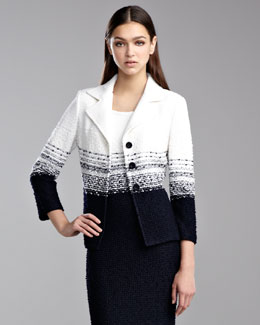 St. John Collection Cannes Tweed Knit Jacket, White/Navy