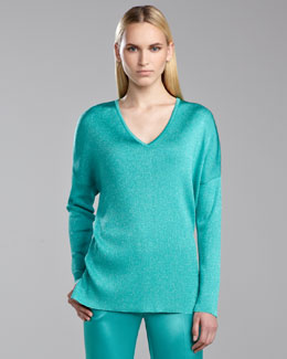 St. John Collection Shimmer Ribbed-Knit Sweater