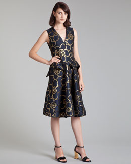 Marni Metallic Jacquard Peplum Dress