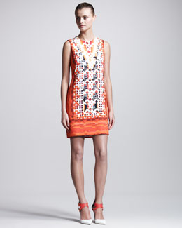 Peter Pilotto Stamped Jersey Dress, Red