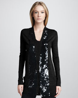 Vera Wang Sequin-Placket Cardigan