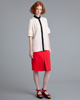 Marni Reverse-Pleat Crepe Skirt