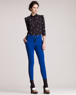 Marni Formfitting Knee-Patch Pants
