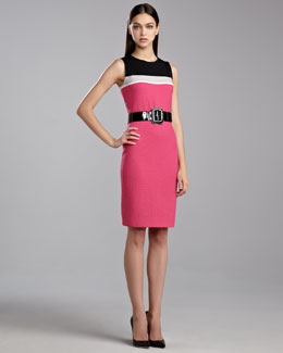 St. John Collection Ticked Boucle Colorblock Dress, Haute Pink