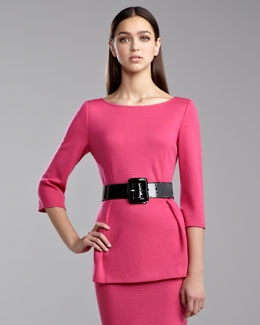 St. John Collection Milano Bateau Peplum Top, Haute Pink