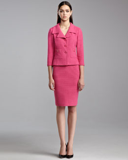 St. John Collection Punto Riso Knit Pencil Skirt, Haute Pink