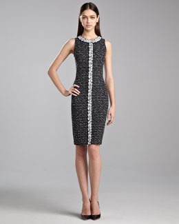 St. John Collection Donegal Knit Sleeveless Dress, Caviar/White