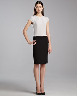St. John Collection Luxe Crepe Colorblock Dress, Limestone/Caviar