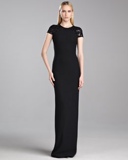 St. John Collection Sequin-Sleeve Shimmer Knit Gown, Caviar