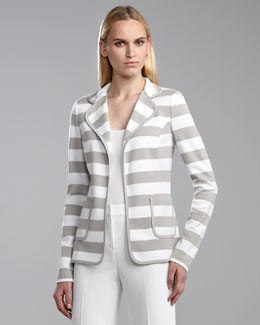 St. John Collection Milano Striped Knit Fitted Jacket, Limestone/White