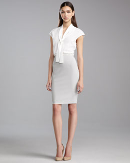 St. John Collection Crepe Marocain Pencil Skirt, Limestone