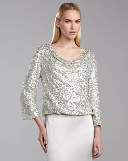 St. John Collection Metallic Sequin Top