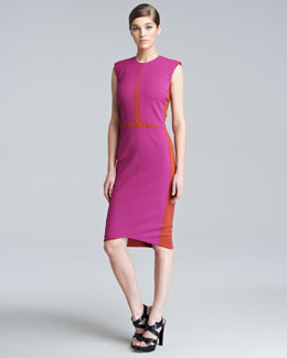 Narciso Rodriguez Sleeveless Colorblock Sheath Dress, Magenta
