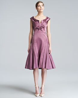 Zac Posen Duchess Satin Flare Dress