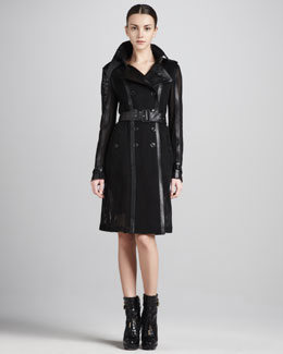Burberry London Mesh/Leather Trenchcoat