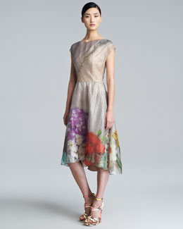 Lela Rose Floral Organza Cap-Sleeve Dress