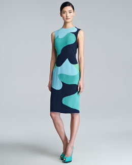 Lela Rose Colorblock-Camouflage Sheath Dress