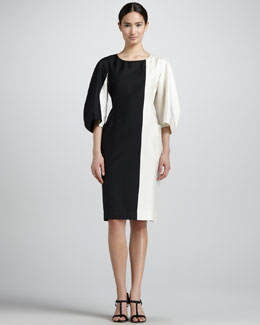 Jil Sander Bicolor Kimono-Sleeve Dress, Black/Cream