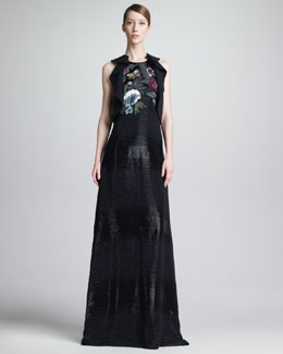 Etro Beaded Floral-Front Racerback Gown, Black/Multicolor