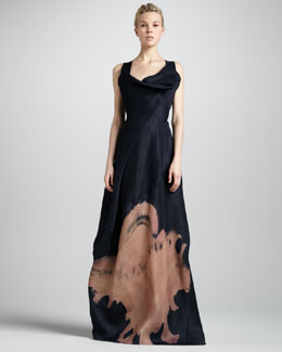Donna Karan Cross-Back Sculpted-Neck Gown, Deep Blue Sea
