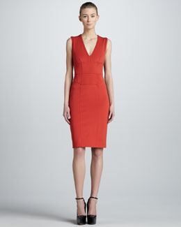 Burberry London Structured V-Neck Sheath Dress