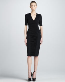 Burberry London Ruched-Panel Sheath Dress
