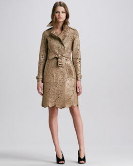 Burberry Prorsum Laser-Cut Lace Leather Trench Coat, Golden Nude