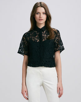 Burberry Prorsum Short-Sleeve Lace Blouse, Black