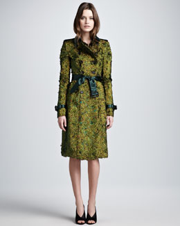 Burberry Prorsum Floral Feather Trenchcoat, Golden Peacock
