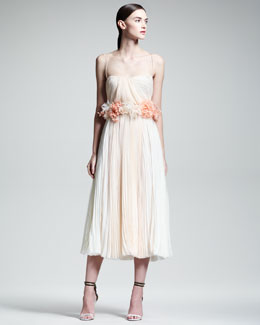 J. Mendel Floral-Waist Pleated Silk Dress, Cream