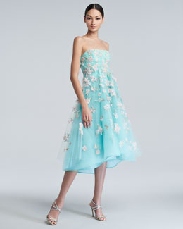 Oscar de la Renta Floral-Embroidered Tulle Cocktail Dress