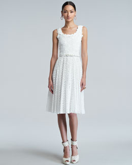 Oscar de la Renta White Floral Pleated Broderie Anglaise Dress