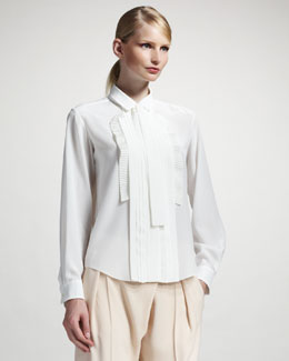 Chloe Pleated-Front Blouse