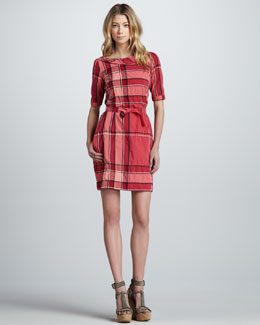 Burberry Brit Check-Print Boat-Neck Shirt Dress