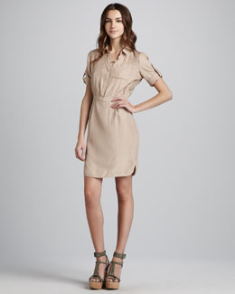 Burberry Brit Short-Sleeve Silk Shirtdress