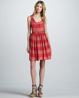 Burberry Brit Sleeveless Striped Silk Dress