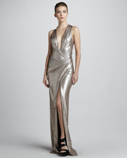 Donna Karan Metallic Plunging-Neck Evening Gown