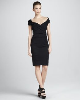 Donna Karan Sculpted Draped Cap-Sleeve Dress, Black