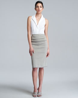Donna Karan Pull-On Straight Skirt, Hemp