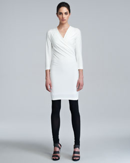 Donna Karan Three-Quarter-Sleeve Draped Tunic Dress, Ivory