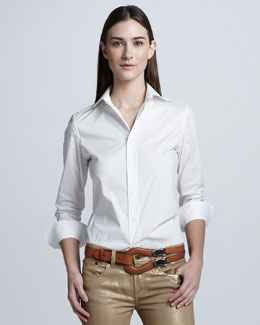Ralph Lauren Black Label Stretch Poplin Blouse, White