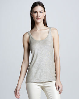 Ralph Lauren Black Label Foil-Printed Tank, Platinum